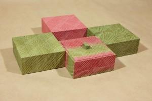 Kästchen 10 x 10 cm Kleisterpapier auf Leinen